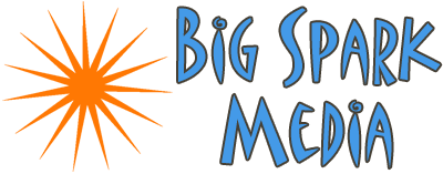 logo big spark media blue and orange 400w